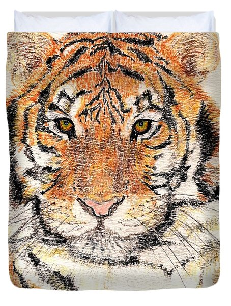 Duvet Cover featuring the drawing Tiger Bright by Stephanie Grant