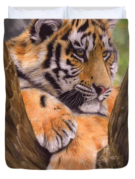 Tiger Cub Painting Duvet Cover by David Stribbling