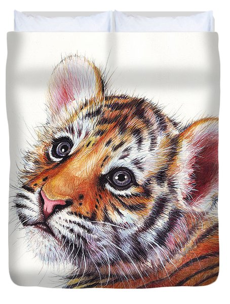 Tiger Cub Watercolor Painting Duvet Cover by Olga Shvartsur