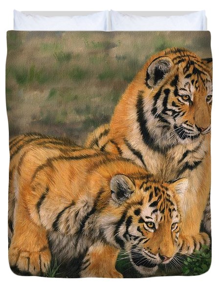 Tiger Cubs Duvet Cover by David Stribbling