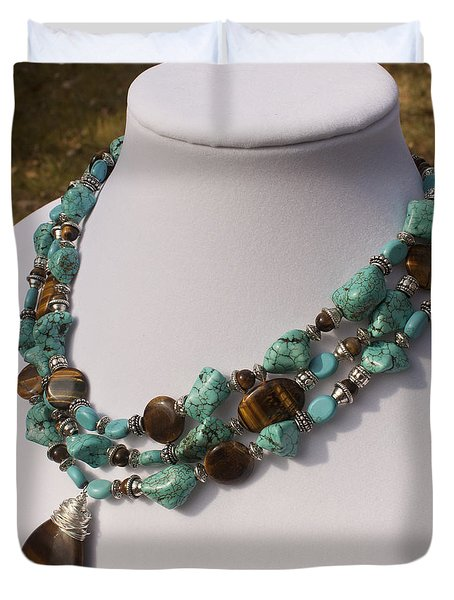 Tiger Eye And Turquoise Triple Strand Necklace 3640 Duvet Cover by Teresa Mucha