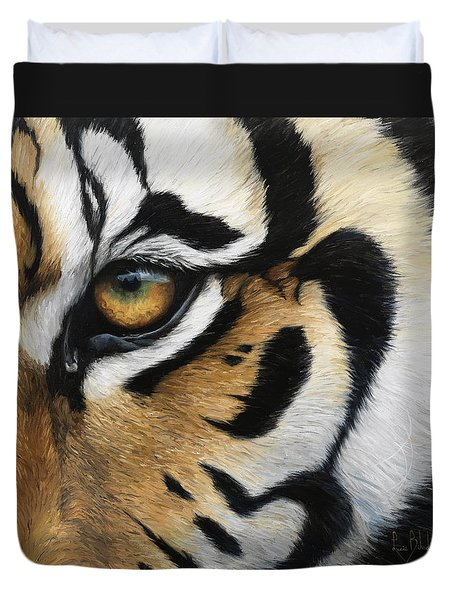 Tiger Eye Duvet Cover by Lucie Bilodeau
