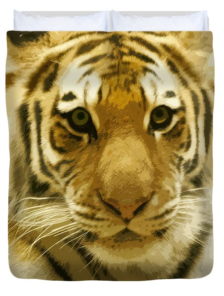 Duvet Cover featuring the digital art Tiger Eyes by Erika Weber