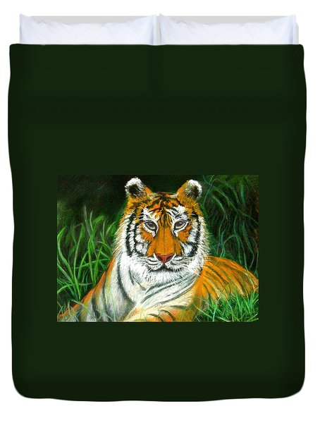 Duvet Cover featuring the pastel Tiger Eyes - Pastel by Antonia Citrino