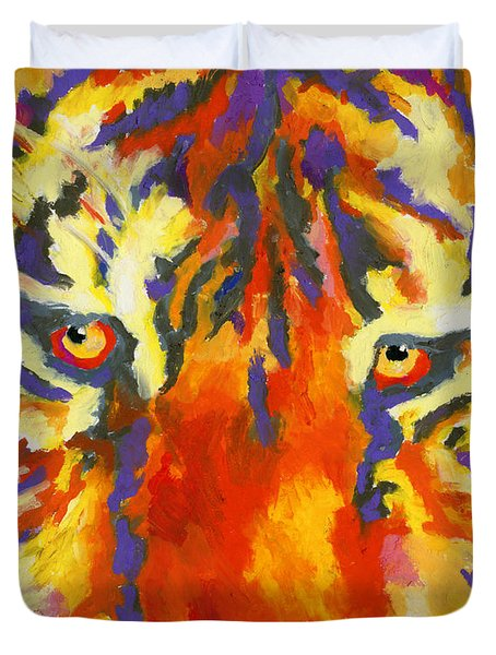 Duvet Cover featuring the painting Tiger Eyes by Stephen Anderson