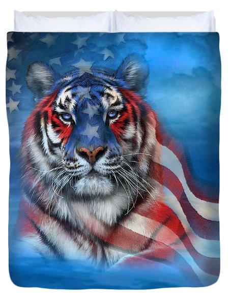 Tiger Flag Duvet Cover by Carol Cavalaris