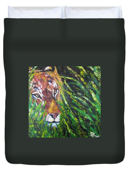 Tiger In The Grass  Duvet Cover
