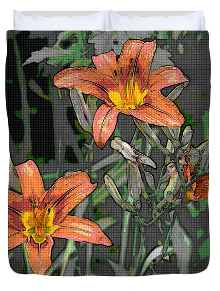 Tiger Lilies Of Canvas Duvet Cover