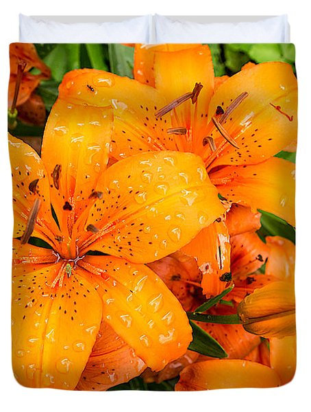 Tiger Lily After Morning Rain Duvet Cover