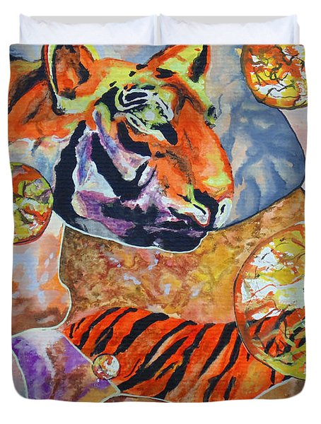 Duvet Cover featuring the painting Tiger Mosaic by Daniel Janda
