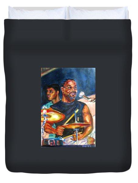 Tiger On Drums Duvet Cover