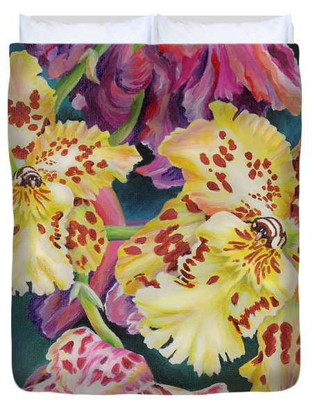 Duvet Cover featuring the painting Tiger Orchid by Jane Girardot