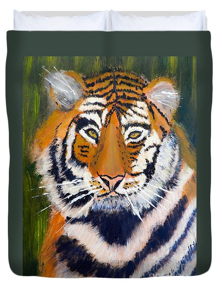 Duvet Cover featuring the painting Tiger by Pamela  Meredith