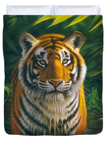 Tiger Pool Duvet Cover