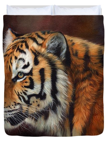 Tiger Portrait  Duvet Cover by David Stribbling