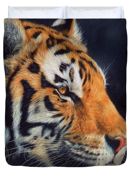 Tiger Profile Duvet Cover by David Stribbling