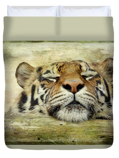 Tiger Snooze Duvet Cover by Athena Mckinzie