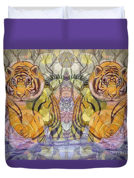 Duvet Cover featuring the painting Tiger Spirits In The Garden Of The Buddha by Joseph J Stevens