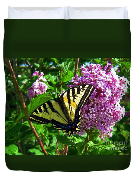 Duvet Cover featuring the photograph Tiger Swallowtail by Janice Westerberg