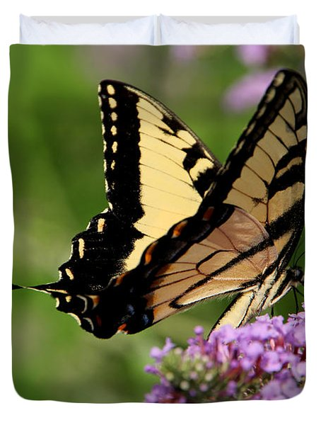 Tiger Swallowtail On Butterfly Bush 2 - Featured In 'comfortable Art' And 'flower W Co' Macro Groups Duvet Cover by EricaMaxine  Price