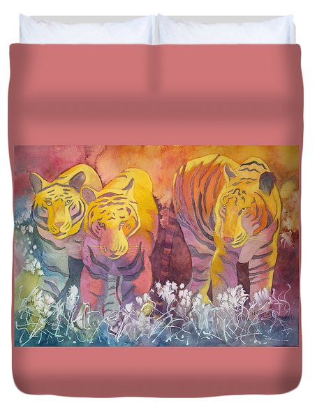Duvet Cover featuring the painting Tiger Trio by Nancy Jolley
