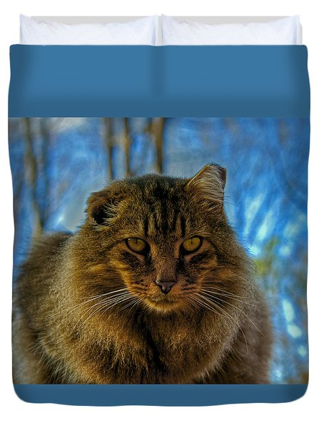 Tiger Up Close Duvet Cover by Andy Lawless