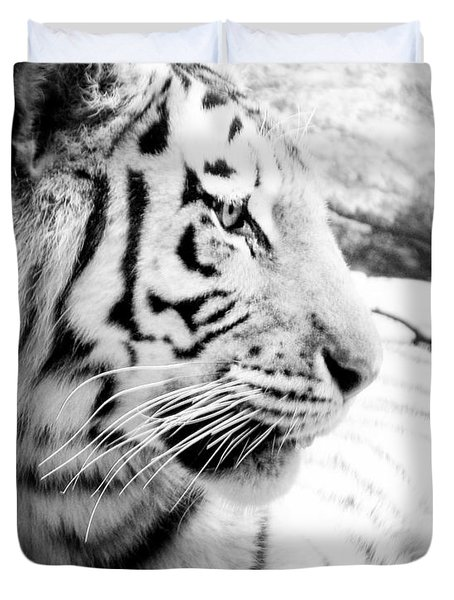 Duvet Cover featuring the photograph Tiger Watch by Erika Weber