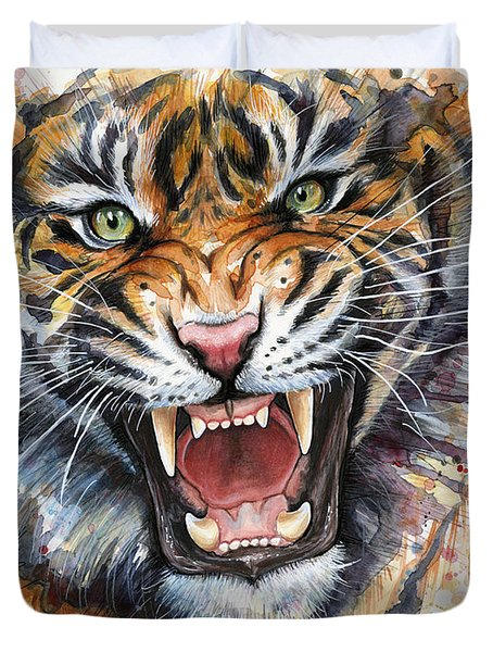 Tiger Watercolor Portrait Duvet Cover by Olga Shvartsur
