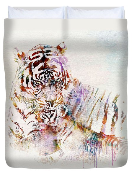 Tiger With Cub Watercolor Duvet Cover