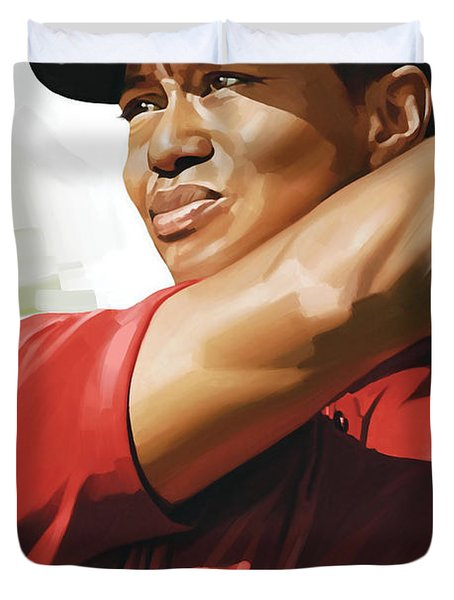 Tiger Woods Artwork Duvet Cover by Sheraz A