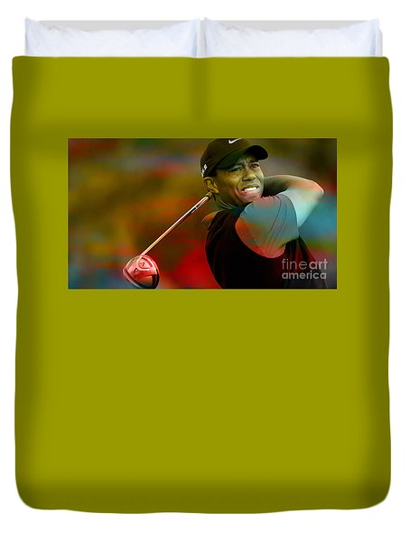 Tiger Woods Duvet Cover by Marvin Blaine