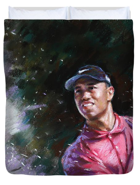 Duvet Cover featuring the drawing Tiger Woods  by Viola El