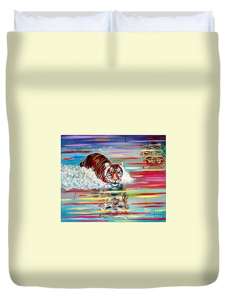 Duvet Cover featuring the painting Tigers Crossing by Phyllis Kaltenbach