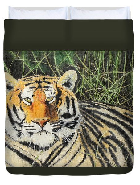 Duvet Cover featuring the painting Tigress by Jeanne Fischer