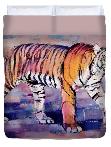 Tigress, Khana, India Duvet Cover by Mark Adlington