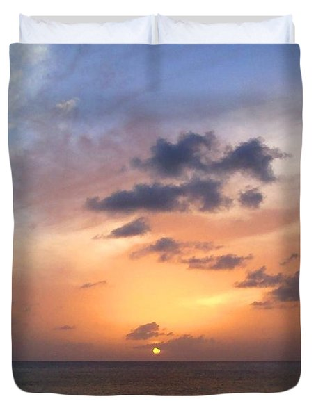 Tiki Beach Caribbean Sunset Duvet Cover