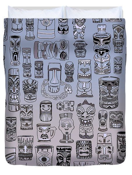 Duvet Cover featuring the digital art Tiki Cool Zone by Megan Dirsa-DuBois
