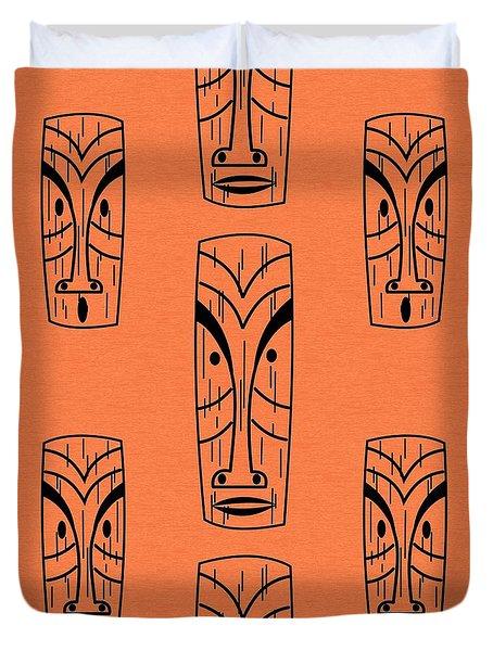 Tiki On Orange Pillow Duvet Cover