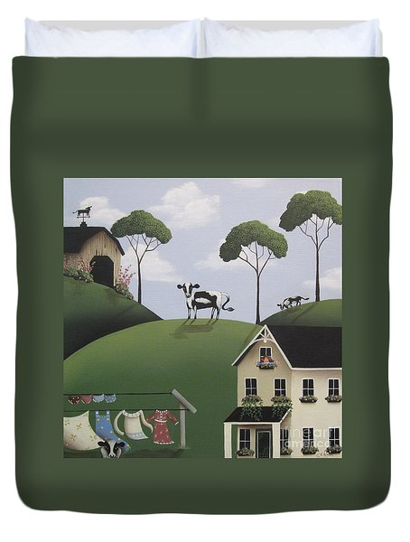 Till The Cows Come Home Duvet Cover by Catherine Holman