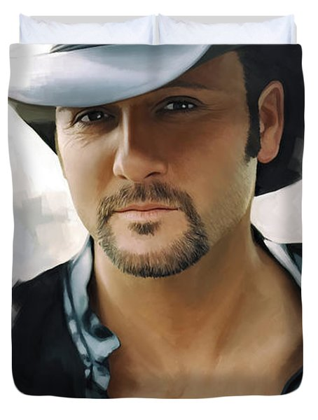 Duvet Cover featuring the painting Tim Mcgraw Artwork by Sheraz A