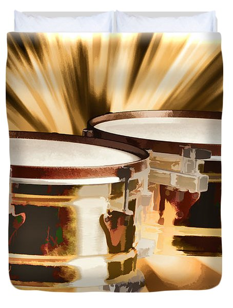 Timbale Drums For Latin Music Painting In Color 3326.02 Duvet Cover by M K  Miller