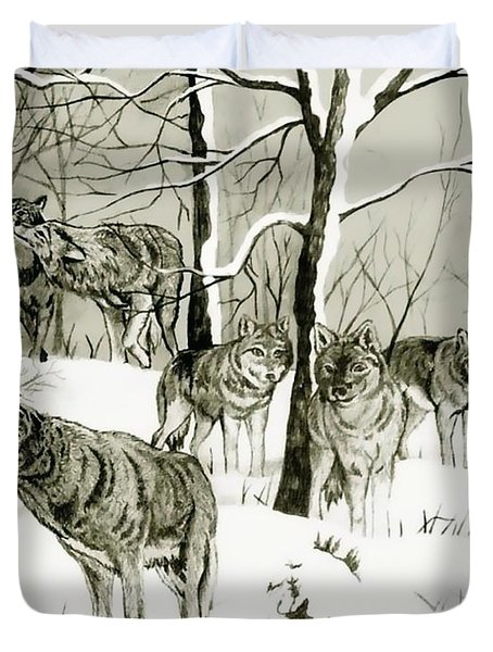 Timber Wolf Pack Duvet Cover