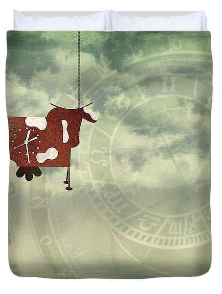 Time Flies Duvet Cover by Jutta Maria Pusl
