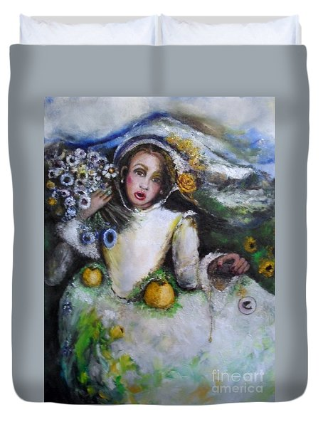 Duvet Cover featuring the painting Time by Laurie Lundquist