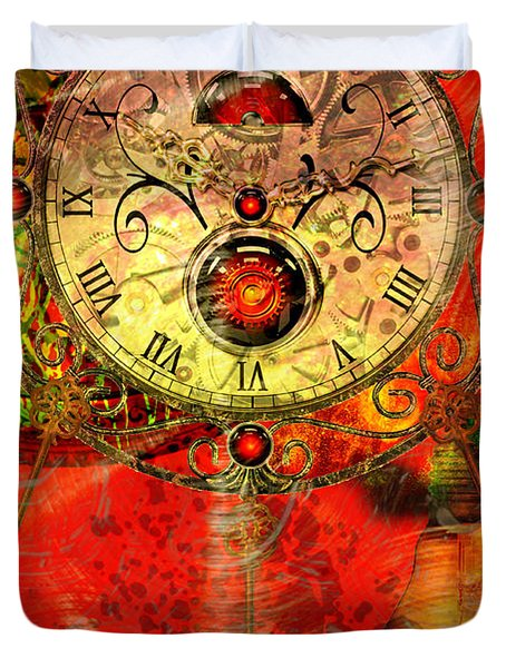 Time Passes Duvet Cover by Ally  White