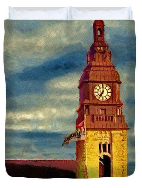 Duvet Cover featuring the painting Time To Go by Jeff Kolker