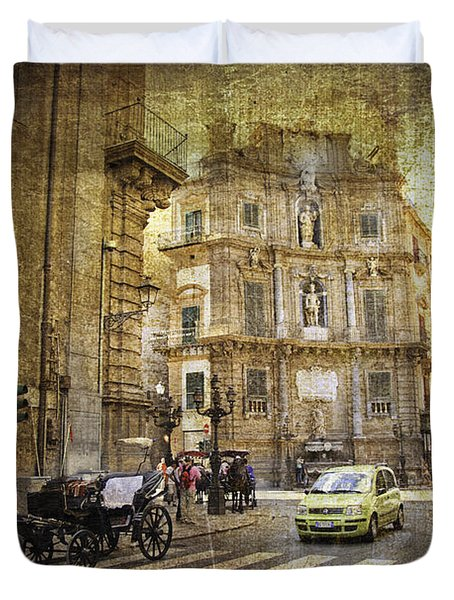 Time Traveling In Palermo - Sicily Duvet Cover