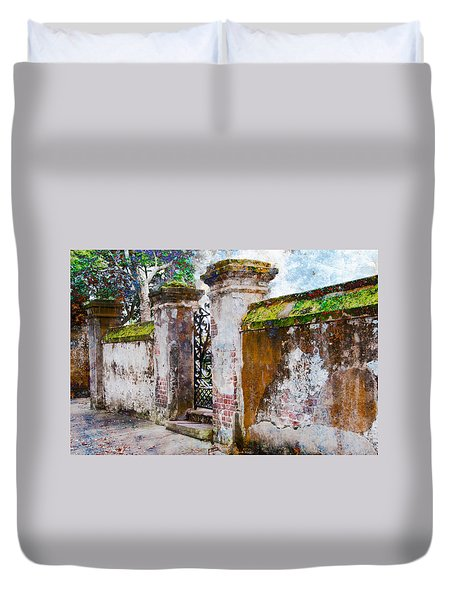 Duvet Cover featuring the photograph Brick Wall Charleston South Carolina by Vizual Studio