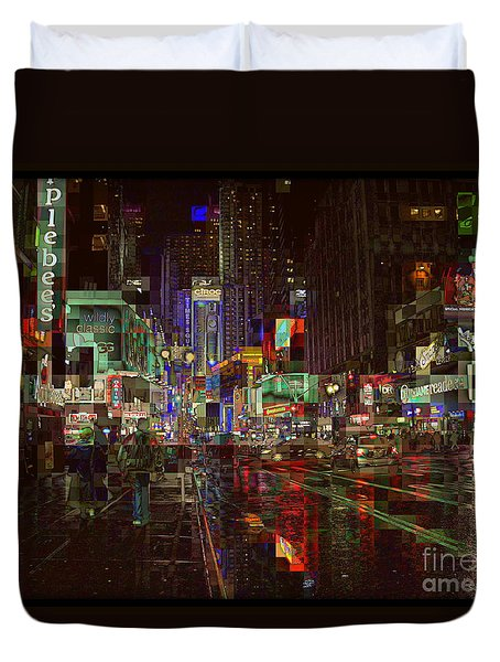 Times Square At Night - After The Rain Duvet Cover by Miriam Danar