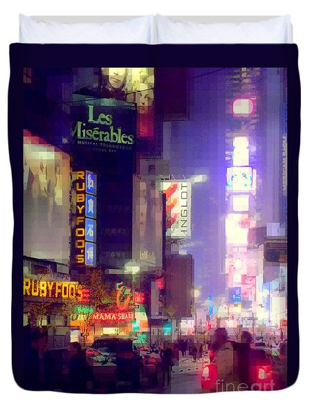Times Square At Night - Columns Of Light Duvet Cover by Miriam Danar